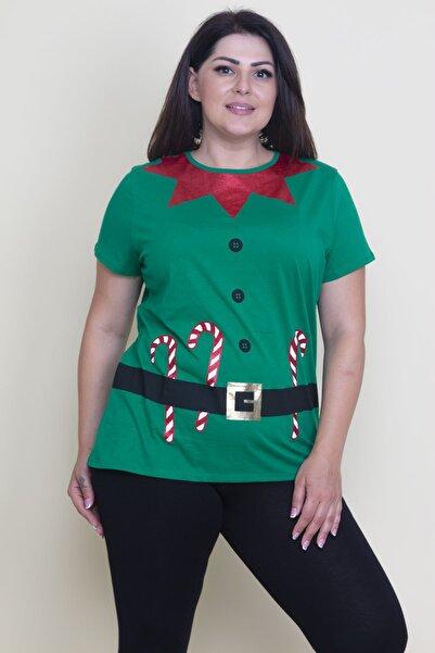 Şans Kadın Yeşil Ön Baskılı T-Shirt
