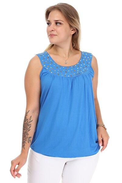 Big Free Bayan Yakası Zımba Detaylı Bel Lastikli Bluz