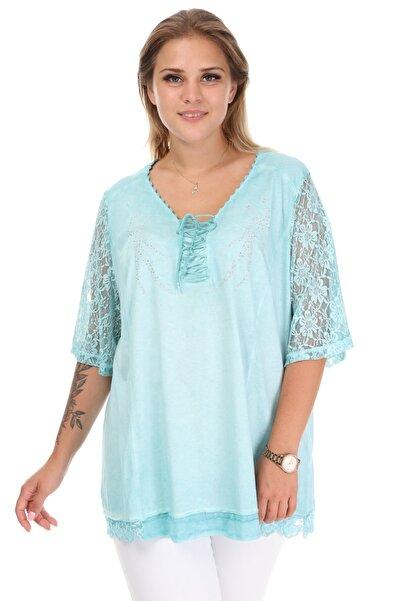 Big Free BayanTaşlı Kol Ve Etek Ucu Dantelli Yıkamalı Bluz