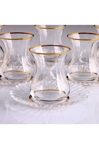 Kristal Paşabahçe Yaldızlı 6 Kişilik Çay Bardak Takımı 95961