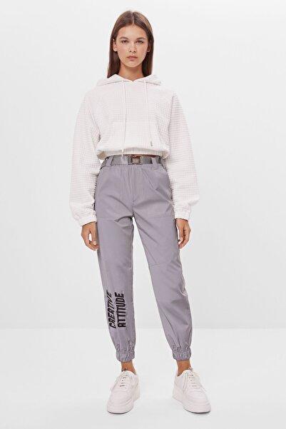 Bershka Kadın Gümüş Renk Reflektör Jogging Fit Pantolon