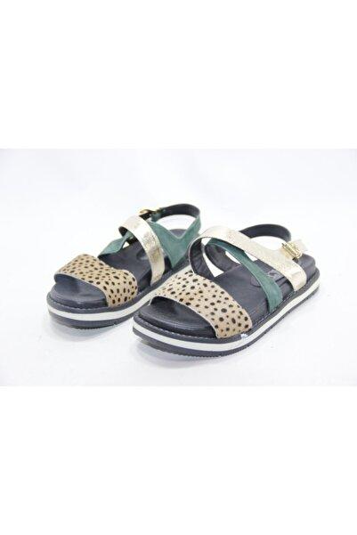 İnci Kadın Lacivert Leopar Hakiki Deri Sandalet