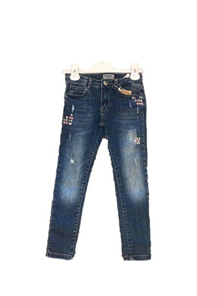 NK Kız Bebek Mavi Yüksek Bel Süper Lcralı  Pullu Yırtıklı Kot Pantolon