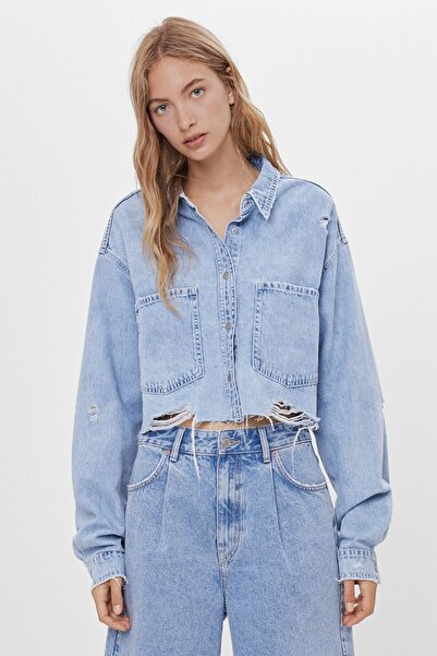 Bershka Kadın Mavi İnce Ceket