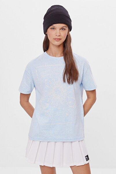 Bershka Kadın Mavi Uzun Kollu Baskılı T-shirt