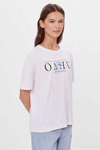 Bershka Kadın Beyaz Uzun Kollu Baskılı T-shirt