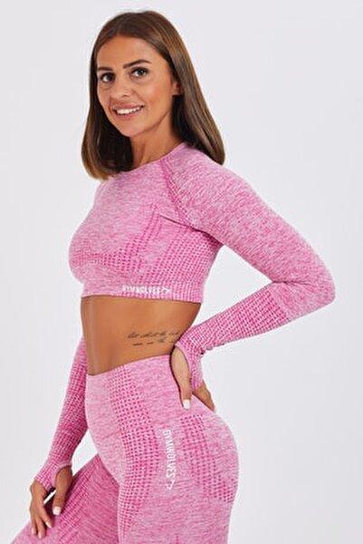 Bayan Uzun Kollu Dikişsiz Spor Tişört | Pink | Crop Tops | Activated Serisi