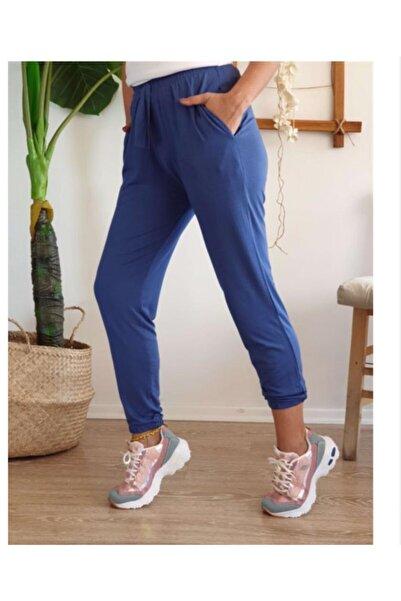 Anka Kadın Mavi Havuç Paça Lastikli Pantolon