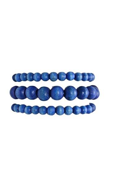 Selin 3 ' Lü Ahşap Bileklik ( Mavi Renk )