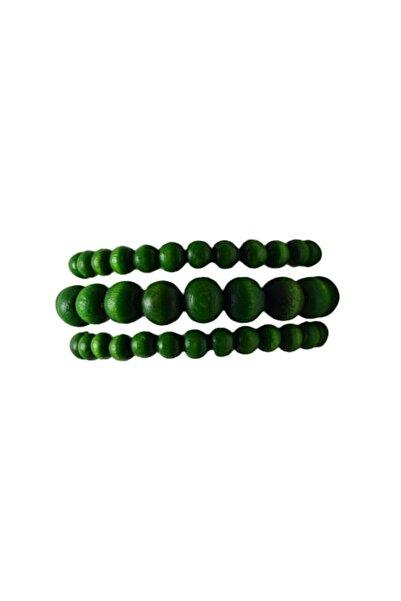 Selin 3 ' Lü Ahşap Bileklik ( Fıstık Yeşili Renkte )