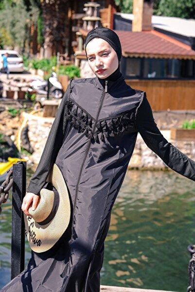 Marina Püsküllü Basic Model Fermuarlı Tam Kapalı Tesettür Mayo 1998 Siyah