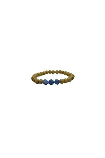 Selin Doğal Taşlı Ahşap Bileklik (mavi Kuvars)