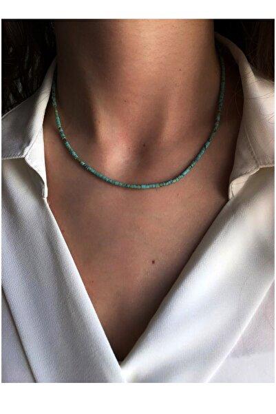Serpil Jewellery Kadın 925 Ayar Patentli Turkuaz Doğaltaşlı Kolye