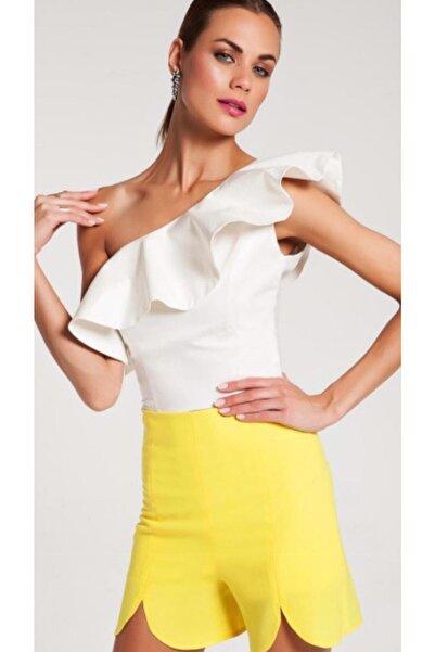 Akel's by Ebru Akel Kadın Beyaz Tek Omuz Bluz