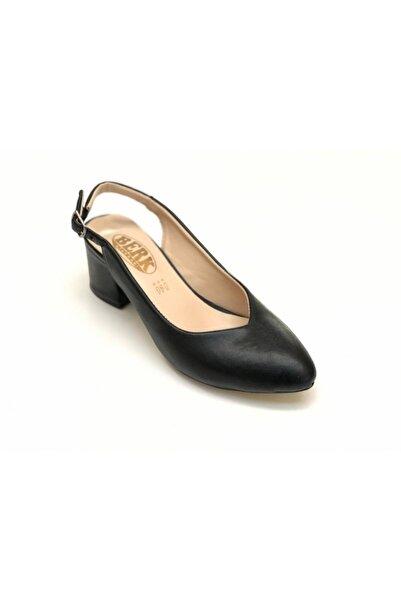 Sedef Kadın Siyah Arkası Açık Topuklu Ayakkabı