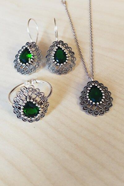 Trend Silver Gümüş Oksitli Telkari Yeşil Kök Zümrüt Taşlı Üçlü Set