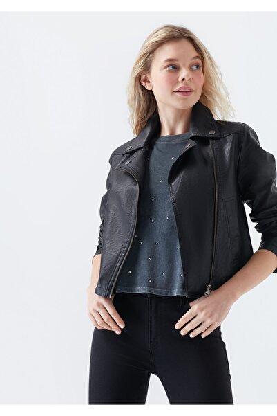 Mavi Kadın Siyah Suni Deri Ceket