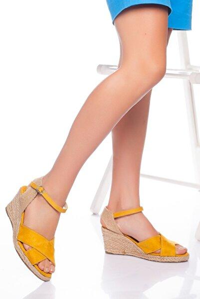 derithy -dolgu Topuklu Ayakkabı-hardal Süet