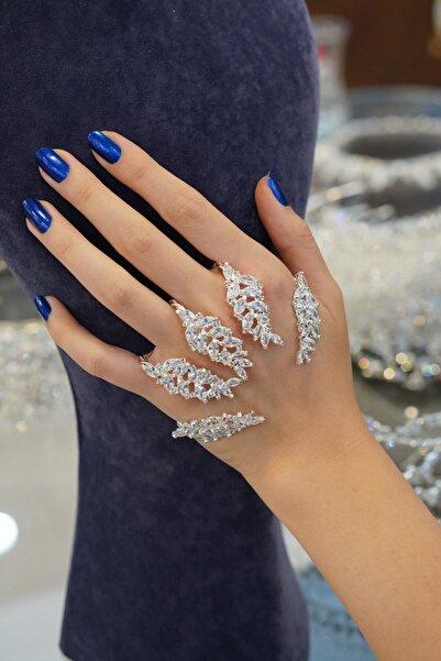 Bijuteri Online Kadın Gümüş Renk  Luxury Zirkon Taşlı  Handwell Şahmeran  Charm