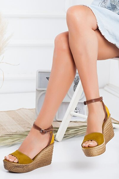 derithy Kadın Renkli Dolgu Topuklu Ayakkabı