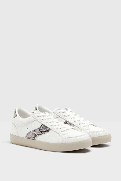 Bershka Kadın Beyaz Yılan Desenli Spor Ayakkabı