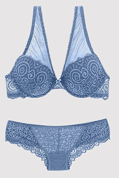 Pierre Cardin Kadın Mavi Sütyen Takım 4742
