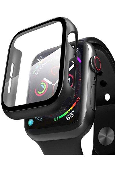 Omelo Apple Watch 44mm Tpu Çerçeveli Ekran Koruyuculu Ön Çerçeve Kılıf Hediyeli