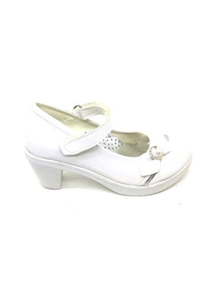 Anıl Kız Çocuk Beyaz Rugan Topuklu Ayakkabı Abiye Çocuk Ayakkabısı