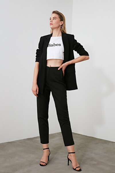 TRENDYOLMİLLA Siyah Yüksek Bel Pensli  Pantolon TWOSS20PL0515