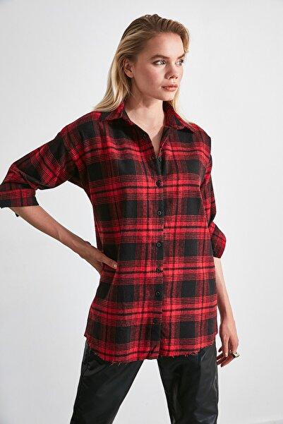 TRENDYOLMİLLA Bordo Ekose Ceket Gömlek TWOAW20GO0139