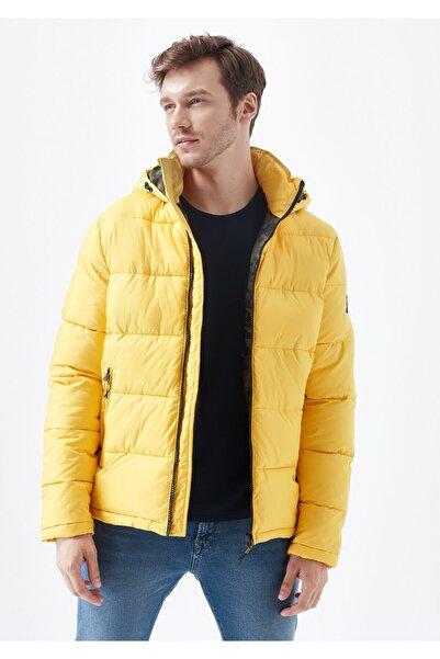 Mavi Kapüşonlu Hardal Ceket