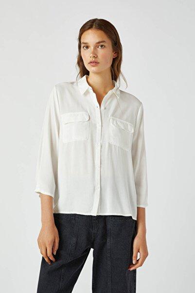 Pull & Bear Kadın Beyaz Kolları Pilili Basic Gömlek 09470326