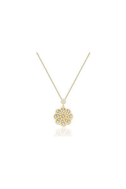 Diamond Line-Gülaylar Altın 14 Ayar Çiçek Kolye