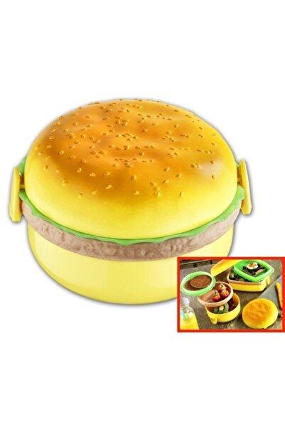 bermeks Beehome () Beslenme Kabı Hamburger Görünümlü 3 Bölmeli