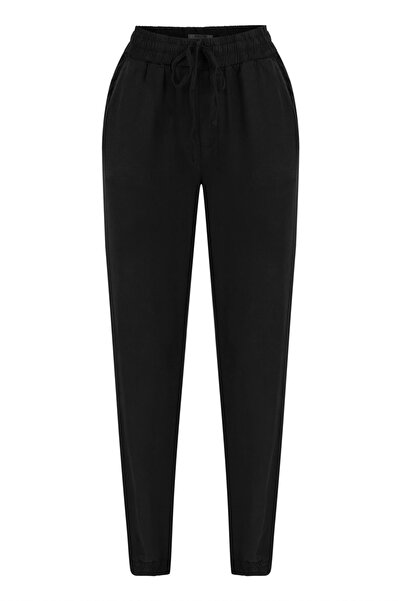 Mudo Kadın Siyah Beli Lastikli Kargo Pantolon (Tencel ? ) 1217082