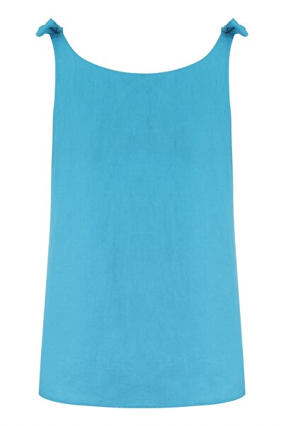 Mudo Kadın Mavi Kolları Bağlamalı Keten Bluz 1216963