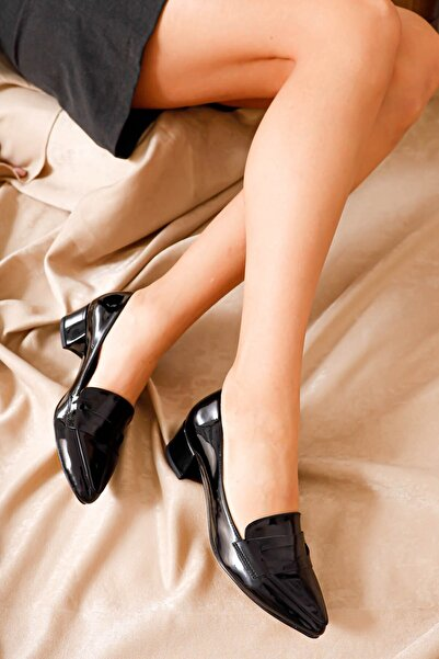Hayalimdeki Ayakkabı Kadın Siyah Luna Topuklu Rugan Ayakkabı