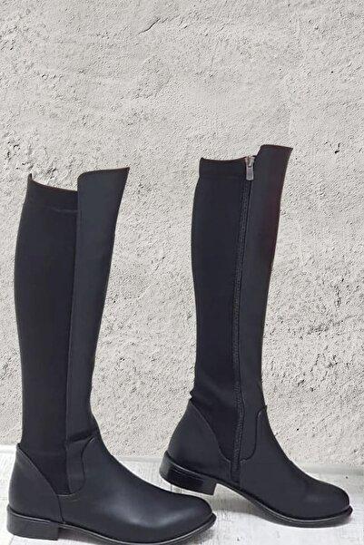 GNY AYAKKABI Kadın Siyah Dalgıç Kumaş Dizaltı Çizme