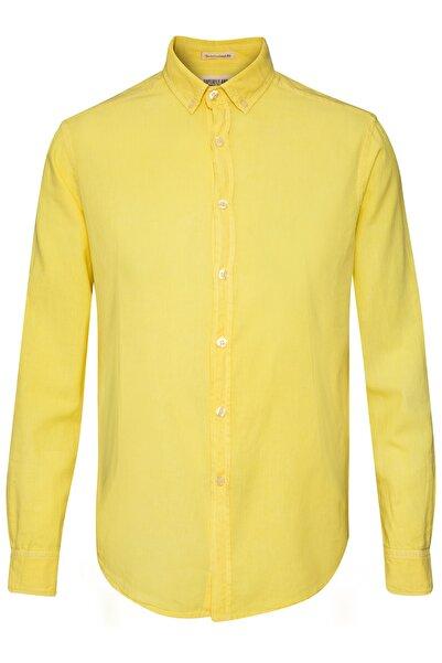 Superfly Erkek Sarı Uzun Kol Keten Gömlek