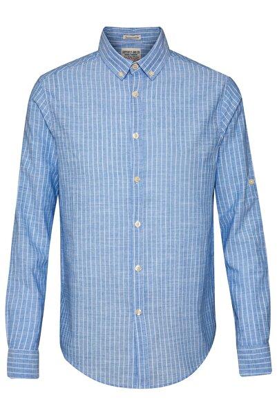 Superfly Erkek Mavi Beyaz Yıkamalı Uzun Kol Çizgili Gömlek