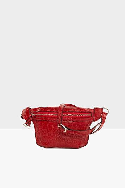 Bagmori Kırmızı Kadın Tek Fermuarlı Kroko Desenli Bel Çantası M000004970