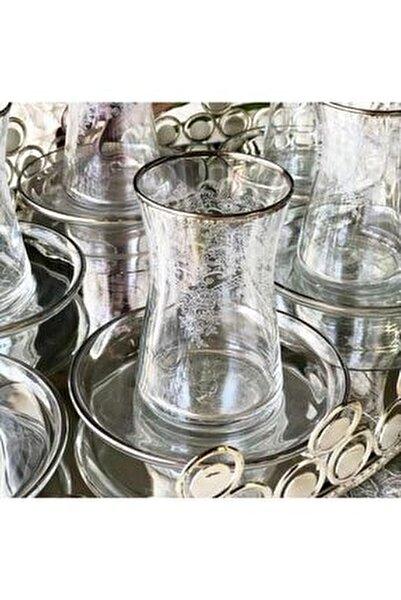 El Dekorlu Çiçek Desenli 6 Kişilik 12 Parça Çay Cam Bardağı Seti