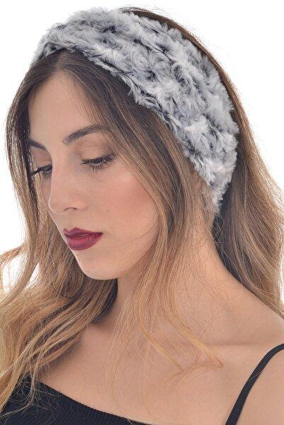 hahai accessories Hahai Kadın Girdap Desenli  Gri Tonlamalı Büzgülü Saç Bandı
