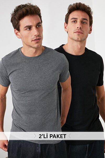 Çok Renkli Erkek 2'li Basic Paket Slim Fit T-Shirt TMNSS19BO0074