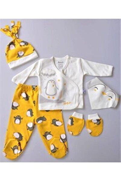 Erkek Bebek Hello Sevimli Penguen Zıbın Takım 5 Parça-15395