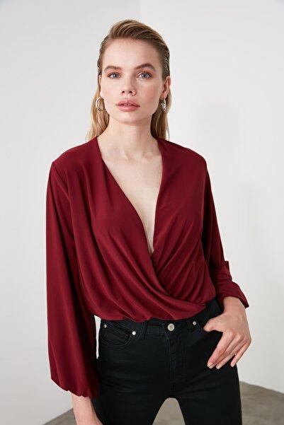 TRENDYOLMİLLA Bordo Kruvaze Örme Bluz TWOAW20BZ0810