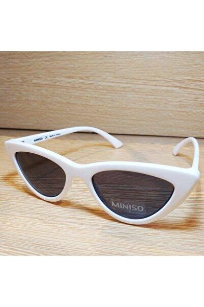 Miniso Kedi Gözü Beyaz Çerçeve Füme Cam Güneş Gözlüğü