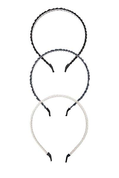 Stradivarius Kadın Siyah 3'Lü Kristal Taç Seti 03118009
