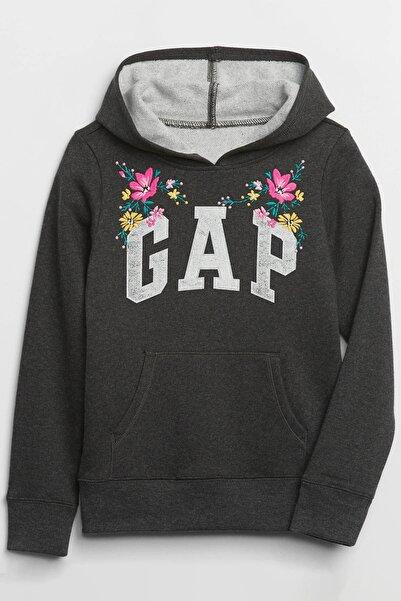 GAP Kids Kız Çocuk Logo Kapüşonlu Sweatshirt