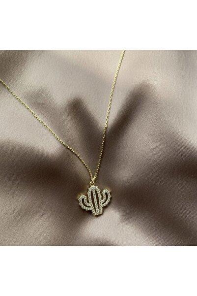 ms merijewelry Zirkon Taşlı Kaktüs Kolye